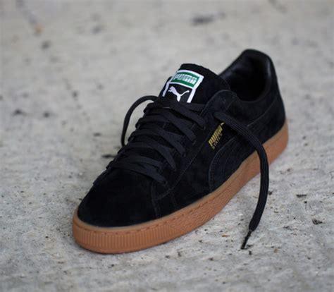 Sepatu Suede Basket Black shoes black sneakers gumbottom gum sole trainers wheretoget
