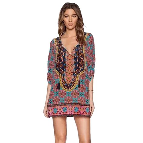 Ethnik Dress 2015 summer style vintage ethnic dress brand baroque