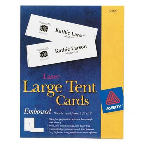 avery large tent card template printer