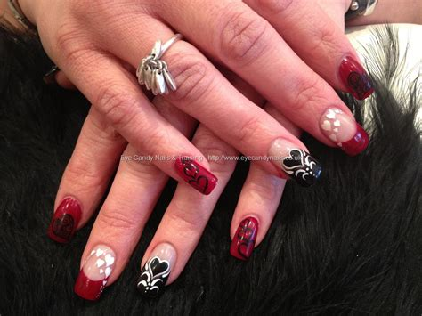 acrylic nails for valentines black and white freehand valentines nail