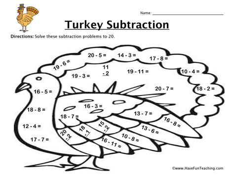 thanksgiving coloring pages for second grade thanksgiving turkey subtraction worksheet have fun teaching
