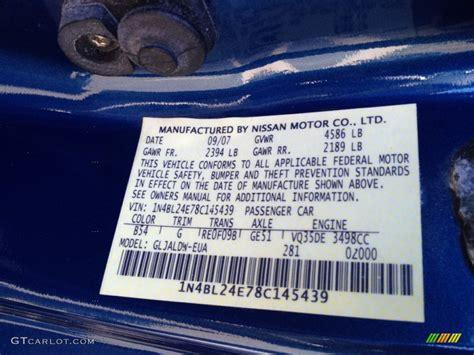 nissan blue paint code 2008 altima color code b54 for azure blue metallic photo