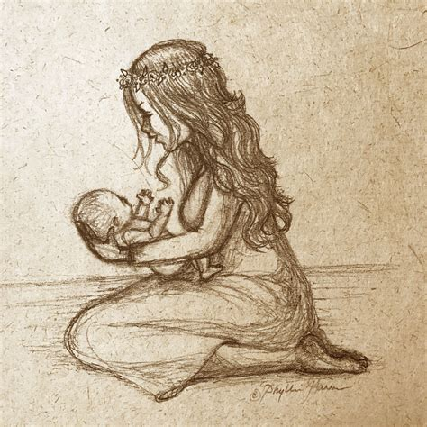 Handmade Sketches - newborn baby and sketch on handmade paper