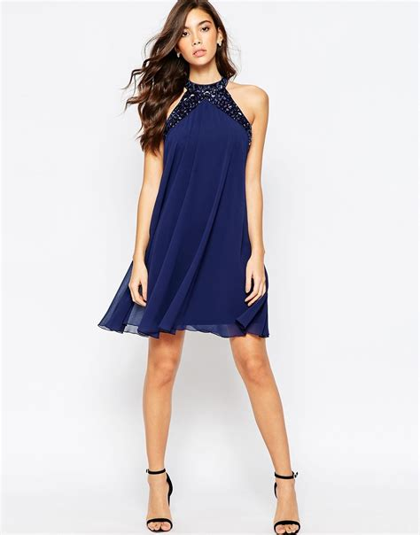 high neck swing dress lipsy embellished high neck babydoll swing dress navy in