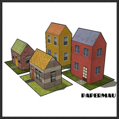 free paper model buildings downloads four simple houses free building paper models download