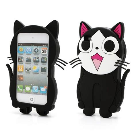 Iphone 4 Softcase Jelly Printing 3d Abcaip4gtp3d lovely 3d mewing cat soft silicone cover for ipod touch4 accessories