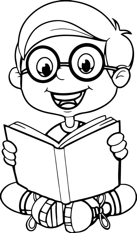 coloring picture of a book reading a book kid coloring page wecoloringpage