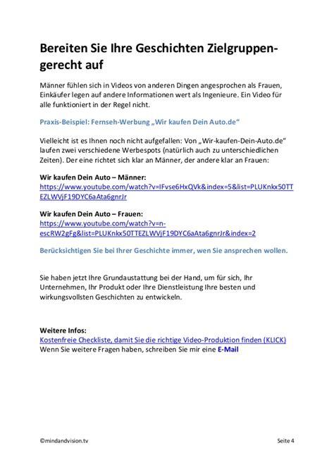 Wir Kaufen Dein Auto Youtube by Ihr Eigenes Video Profi Tipps F 252 R Storytelling Und Aufbau