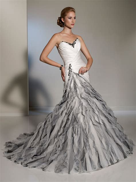 custom wedding dress white silver fluted skirt wedding dress