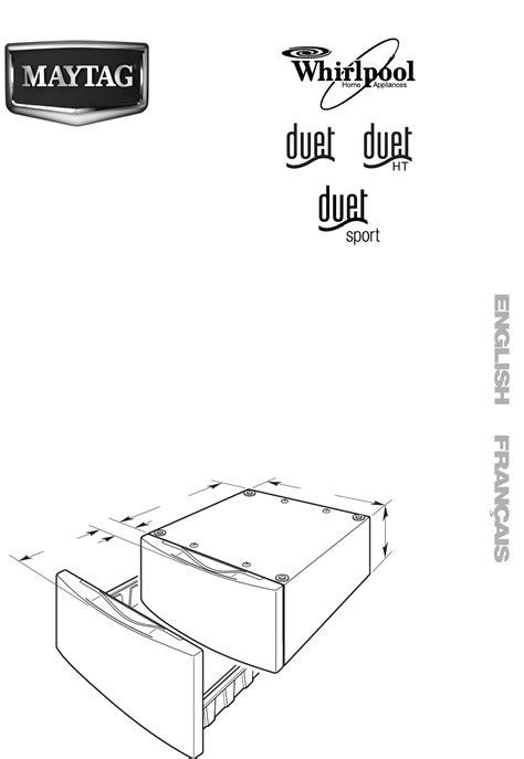 Whirlpool Duet Washer Pedestal Installation whirlpool washer dryer w10198562a user guide manualsonline