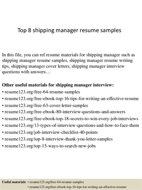 top 8 shipping manager resume sles