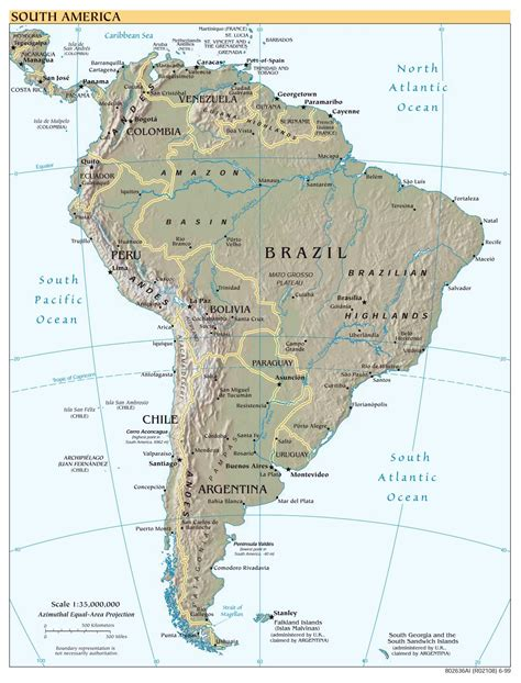 map of south america with cities large scale political map of south america with relief