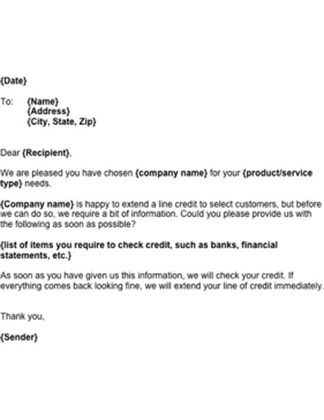 Credit Line Template Business Credit Line Information Template