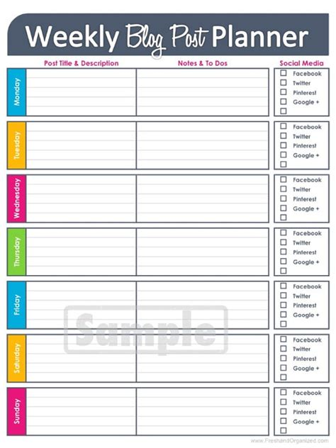 weekly planner printable editable weekly blog planning worksheet editable by freshandorganized