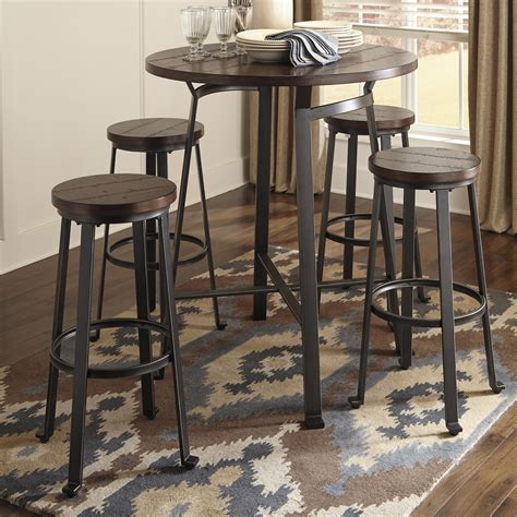 Challiman Pub Height Bar Stool by Signature Design Challiman 5 Bar Table