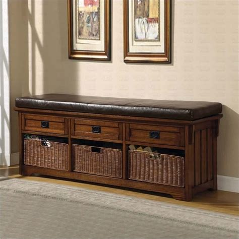 living room bench with storage coaster oak large storage bench with baskets 501060