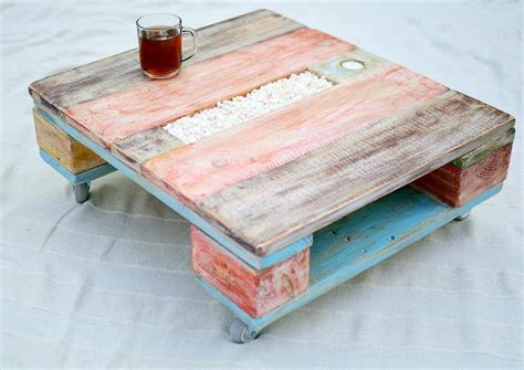 Colorful Coffee Tables One Pallet Coffee Table With Wheels