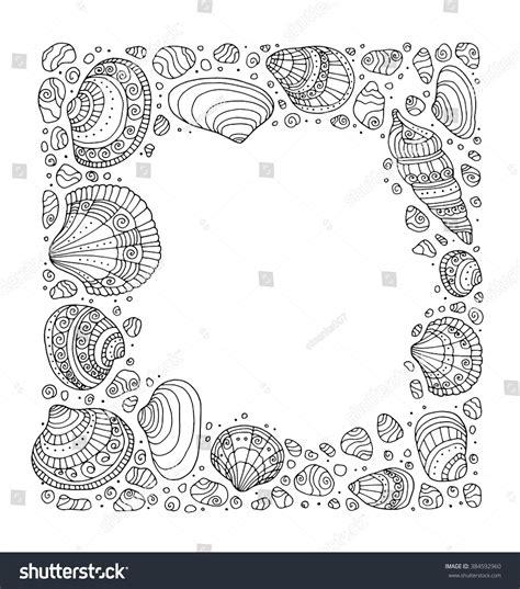 ocean border coloring page seashell border frame ocean pattern vector stock vector