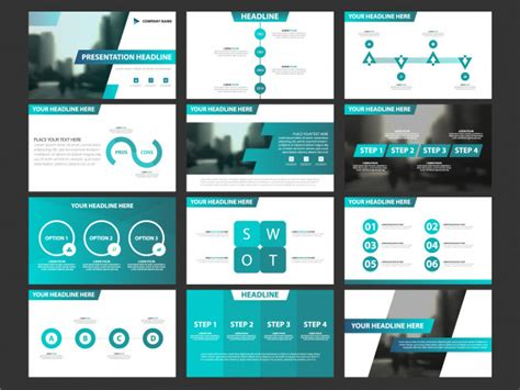 Business Presentation Infographic Elements Template Set Annual Report Corporate Horizontal Company Presentation Template