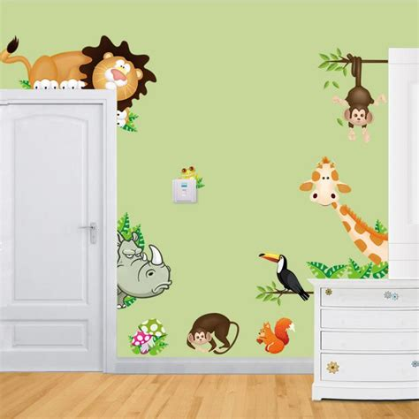 animal wall stickers for bedrooms new diy cute jungle wild animals wall art decals kids
