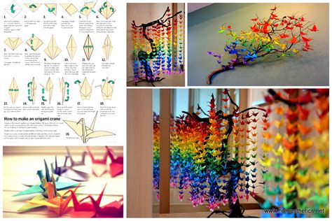 diy decorations guide on how to create a colorful rainbow diy crane curtain detailed