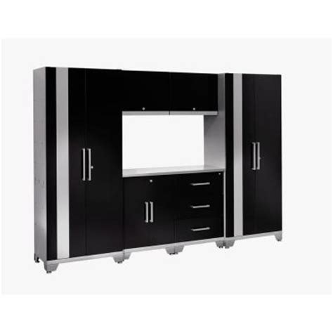 newage garage cabinets newage products performance 75 in h x 108 in w x 18 in d steel garage cabinet set in black 7