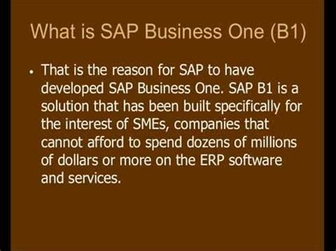 tutorial sap business one what is sap business one b1 tutorial training