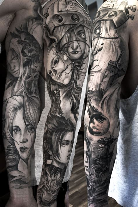 fantasy sleeve tattoo designs gamerink crisis vii sleeve done by