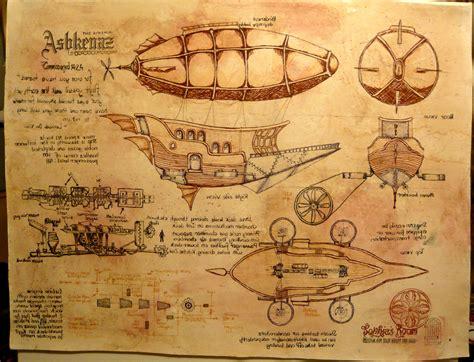 Steampunk airship in da vinci style encompassingchaos