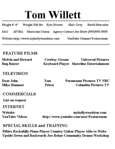 Additional Skills For Acting Resume My Resume Page 1
