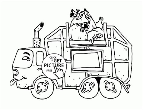 coloring page of trash truck garbage truck coloring pages free az coloring pages
