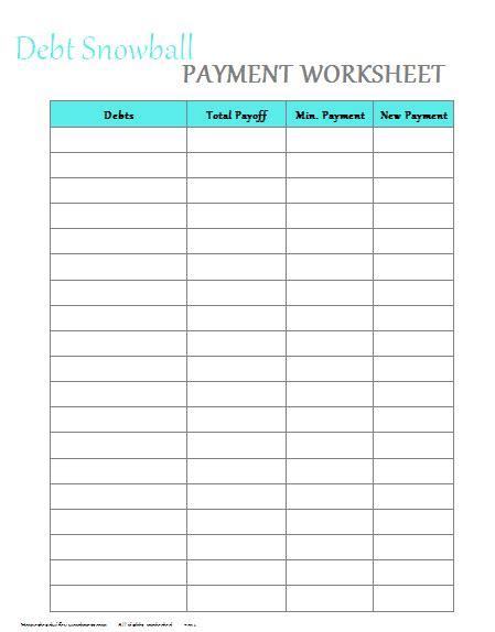 Free Printable Debt Payoff Worksheet