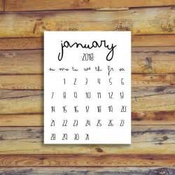 Calendar 2018 Printable January January 2018 Calendar