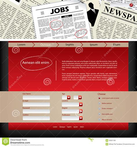 website template design with newspaper header royalty free