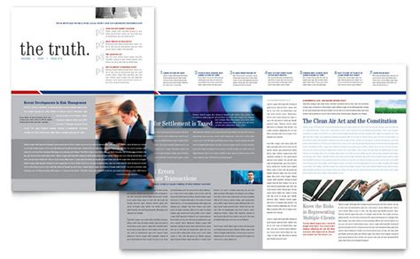 legal government services newsletter template design