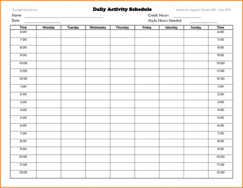 Daily Time Schedule Template daily schedule template description form sle prom