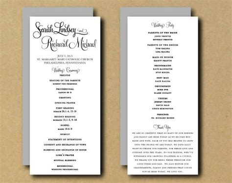 One Page Wedding Program Template Template Business One Page Wedding Program Template