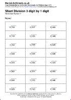 short division 3 digit by 1 digit worksheets free