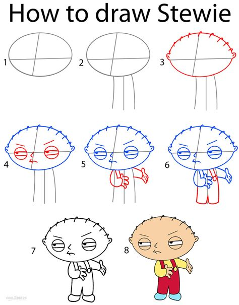steps on how to draw doodle how to draw stewie step by step pictures cool2bkids