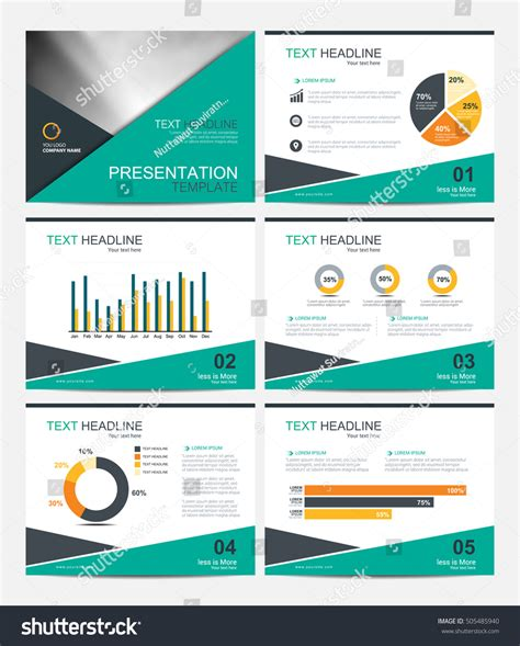 Business Presentation Template Set Powerpoint Layout Stock Vector 505485940 Shutterstock Powerpoint Slide Layout Templates