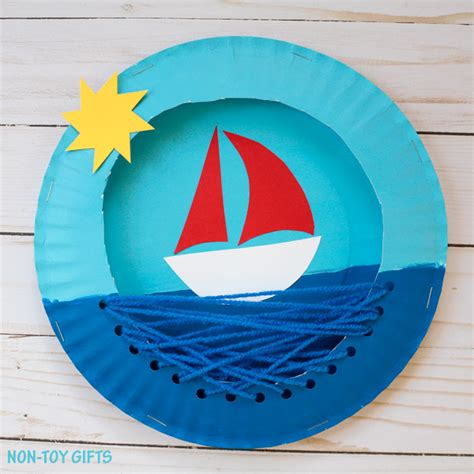 Summer Paper Crafts - paper plate boat craft summer craft for non gifts