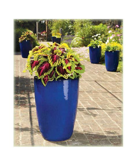 apta large tall blue glazed garden planter