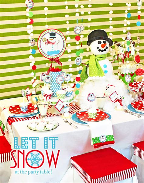 xmas themed birthday party let it snow festive snowman kids party hostess with