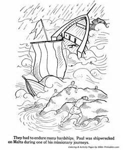 the apostles coloring pages paul shipwrecked on malta