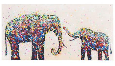 cuadro elefantes confeti 60x120x3 5 cm pintado a mano al - Cuadros Elefantes