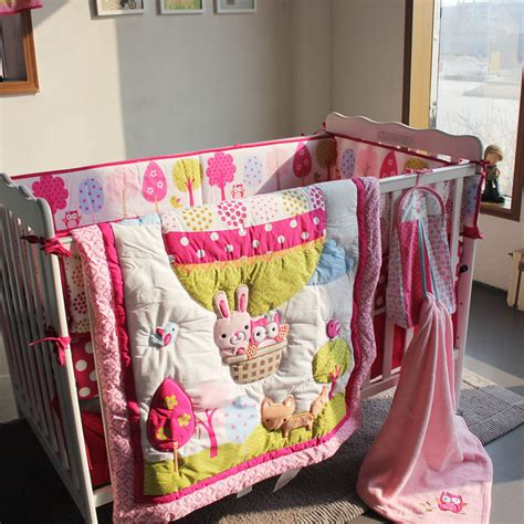 hot air balloon crib bedding 7pcs baby bedding set embroidery 3d hot air balloon rabbit
