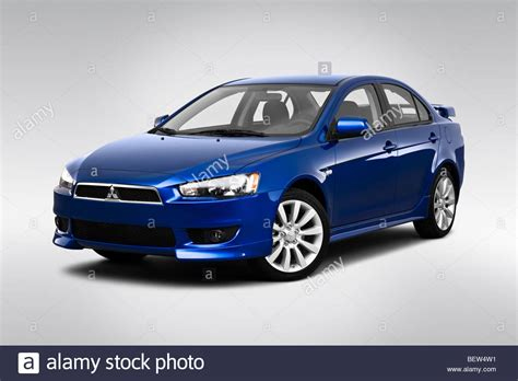 2010 mitsubishi lancer gts in blue front angle view