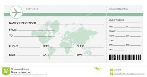 Gift Ticket Invitation Template Plane Ticket Template