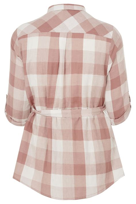 bump it up maternity pink white checked shirt with
