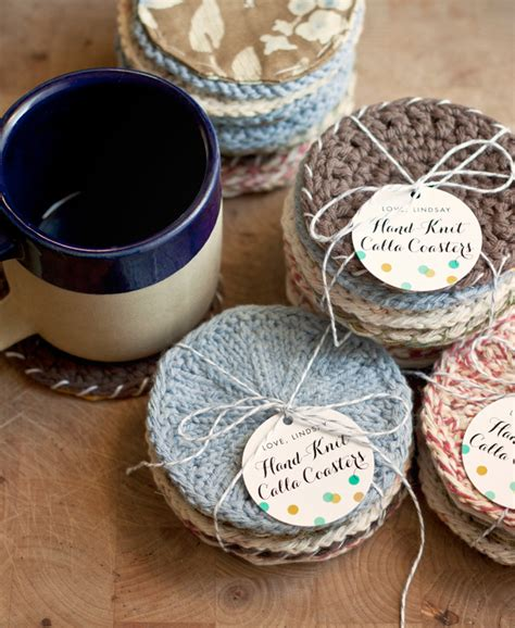 handmade gift idea knitted coasters evermine blog